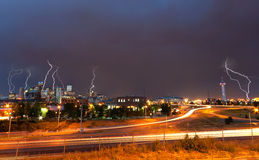 Denver, Colorado - Downtown Skyline During Lightning Storm Royalty Free Stock Photography