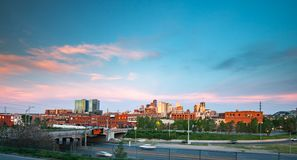 Denver, Colorado downtown skyline at sunset Royalty Free Stock Photography