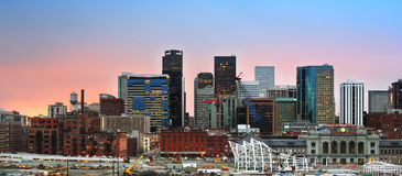 Denver Colorado downtown skyline at sunset. With new construction near Union Station Royalty Free Stock Images