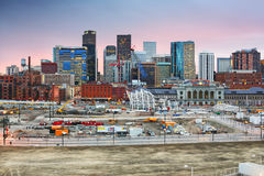 Denver Colorado downtown skyline at sunset. With new construction near Union Station Stock Image