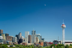 Denver Colorado skyline with moon and carnival Royalty Free Stock Images