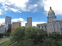 Denver Colorado State Capitol Building with Skyscrapers Royalty Free Stock Photos