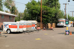 U-Haul rental place. Denver, Colorado, USA - August 7,2017: U-Haul trucks parked at rental place. U-Haul truck is a moving equipment and storage rental company Royalty Free Stock Photos