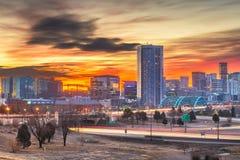 Denver, Colorado, USA Skyline. Denver, Colorado, USA downtown city skyline and highways at dawn royalty free stock photography
