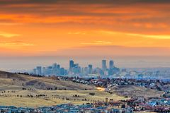 Free Denver, Colorado, USA Downtown Skyline Viewed From Red Rocks Royalty Free Stock Images - 145301819