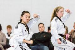 Tae Kwon Do. Denver, Colorado, USA-February 21, 2016. Tae Kwon Do testing for verious degree of black belts Stock Photo