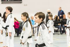 Tae Kwon Do. Denver, Colorado, USA-February 21, 2016. Tae Kwon Do testing for verious degree of black belts Royalty Free Stock Photography