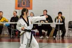 Tae Kwon Do. Denver, Colorado, USA-February 21, 2016. Tae Kwon Do testing for verious degree of black belts Royalty Free Stock Images