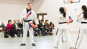 Tae Kwon Do. Denver, Colorado, USA-February 21, 2016. Tae Kwon Do testing for verious degree of black belts Royalty Free Stock Photos