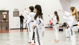 Tae Kwon Do. Denver, Colorado, USA-February 21, 2016. Tae Kwon Do testing for verious degree of black belts Royalty Free Stock Image