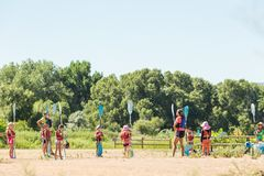 Kids summer camp. Denver, Colorado, USA-July 13, 2016. Summer kids advanture camp preparing for canoeing stock photos