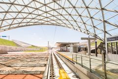Light rail station. Denver, Colorado, USA-June 1, 2016. Denver Airport commuter rail station in the Summer royalty free stock images
