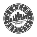Denver Colorado USA Round Button City Skyline Design Stamp Vector Travel Tourism. Skyline with emblematic Buildings and Monuments of this famous city royalty free illustration