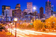 Denver Evening Traffic Royaltyfria Bilder