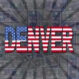 Denver flaga tekst na dolara wybuchu ilustraci ilustracji