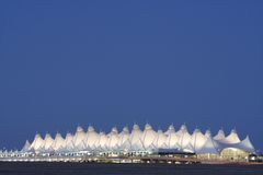 Denver International Airport. At dusk Royalty Free Stock Photos