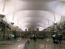 Denver International Airport Lobby. The Denver International Airport (DIA) in the main lobby under the mountain-shaped ceiling Stock Photography