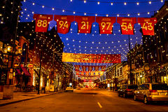 Denver Larimer Square NFL unito in arancia Fotografie Stock