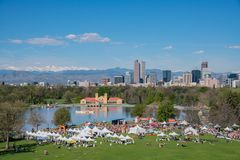 Aerial view of walk MS 2017 Marathon. Denver, MAY 6: Aerial view of Walk MS 2017 Marathon on MAY 6, 2017 at Denver, Colorado stock images