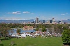 Aerial view of walk MS 2017 Marathon. Denver, MAY 6: Aerial view of Walk MS 2017 Marathon on MAY 6, 2017 at Denver, Colorado royalty free stock photo