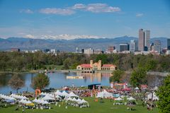 Aerial view of walk MS 2017 Marathon. Denver, MAY 6: Aerial view of Walk MS 2017 Marathon on MAY 6, 2017 at Denver, Colorado royalty free stock images