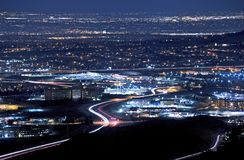 Denver Metro at Night. Denver Metro Area at Night. Golden and Lakewood Area Illumination at Night Panorama royalty free stock photography