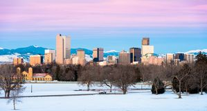 Denver Morning Panorama. Downtown Denver Skyline Morning Panorama stock images