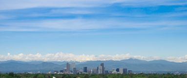 Denver with mountains in the background royalty free stock images