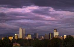 Denver nell'ambito di un'alba rosa Immagine Stock Libera da Diritti
