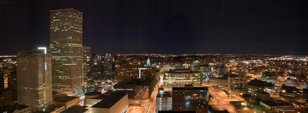 Denver at Night. A night panorama of the Denver downtown core including the Colorado State Capitol Royalty Free Stock Photos