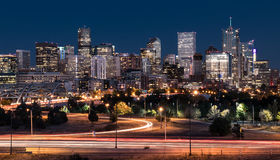 Denver Night Skyline. From across the South Platte River Royalty Free Stock Photos