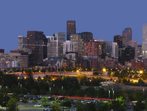 Denver nightline. This is downtown Denver at twilight Royalty Free Stock Photography