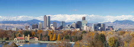 Denver Panorama. Very large panorama of Denver, Colorado skyline, with Rocky Mountains in the background Royalty Free Stock Images