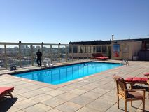 Denver Rooftop Pool Royalty Free Stock Image