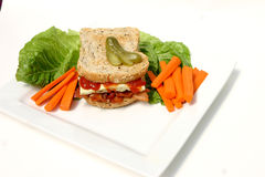 Denver Sandwich. On plate with carrots Royalty Free Stock Photography