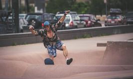 Denver Skate Park bmx and skateboarder stock images