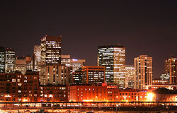 Denver Skyline. The bright lights of downtown Denver, Colorado at night Stock Photography