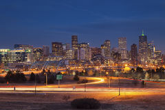 Denver Skyline. Image of Denver Skyline and busy highway in the foreground Royalty Free Stock Photo