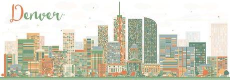 Denver Skyline abstrato com construções da cor Foto de Stock Royalty Free