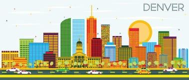 Denver Skyline avec les bâtiments de couleur et le ciel bleu illustration de vecteur