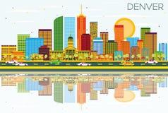 Denver Skyline avec les bâtiments de couleur, le ciel bleu et les réflexions illustration libre de droits