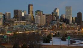 Denver Skyline bei Sonnenuntergang Stockbilder