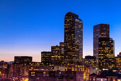 Denver Skyline at Blue Hour Mar 2013 Royalty Free Stock Image