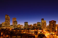 Denver Skyline at Blue Hour Mar 2013 Royalty Free Stock Image