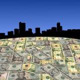 Denver skyline with dollars Royalty Free Stock Photo
