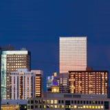 Denver Skyline at Dusk Closeup Stock Image