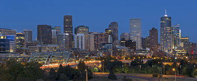 Denver Skyline at Dusk Royalty Free Stock Photos