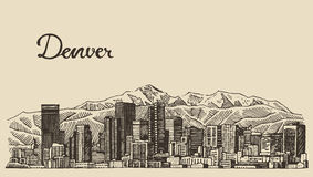 Denver skyline engraved vector hand drawn sketch Royalty Free Stock Photography