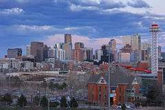 Denver. Skyline in the evening with dark clouds Stock Photo