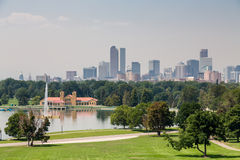 Denver Skyline with Fountain in Lake stock photography